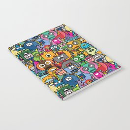 All robots - cute and colorful pattern Notebook