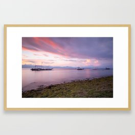 Long exposure shot of the magnificent sunset at the beach Framed Art Print
