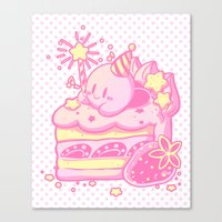 kirby Canvas Prints featuring Kirby Cake by Miski