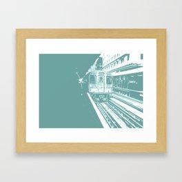 Teal Brown Line Framed Art Print