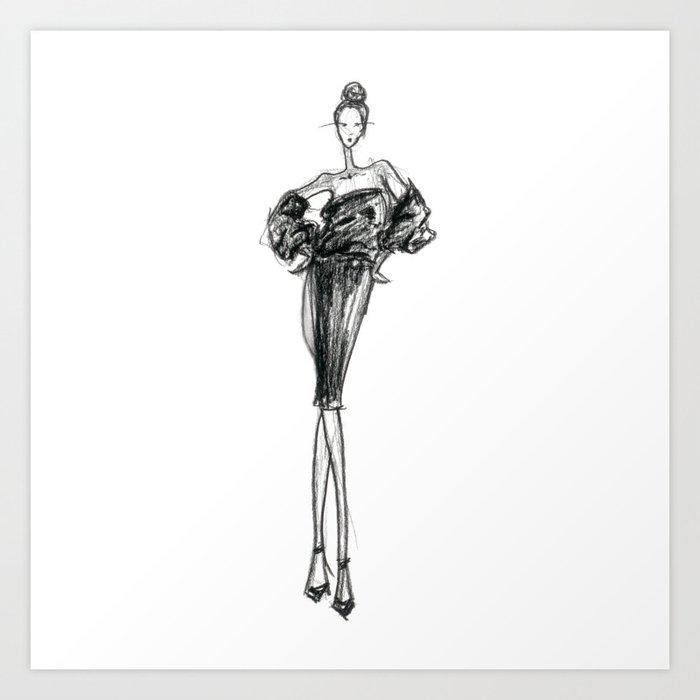 Charcoaled Fashion Illustration Art Print