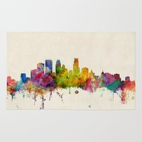 minnesota Area & Throw Rugs featuring Minneapolis Minnesota Skyline by artPause