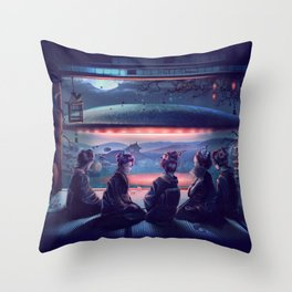 Night Guest  Throw Pillow