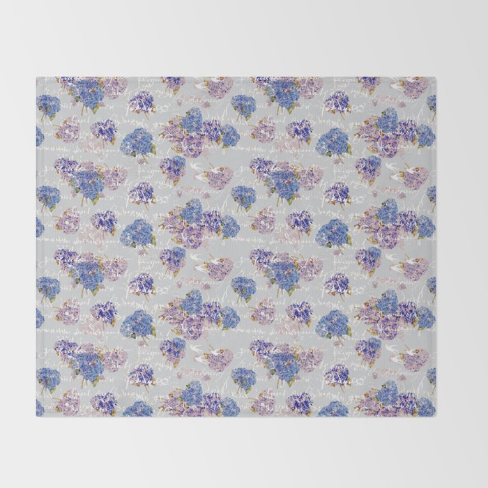 Hydrangeas and French Script with birds on gray background Throw Blanket