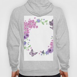 Butterfly And Flowers Violet Circle Hoody