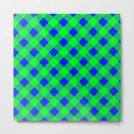 blue and green gingham Metal Print