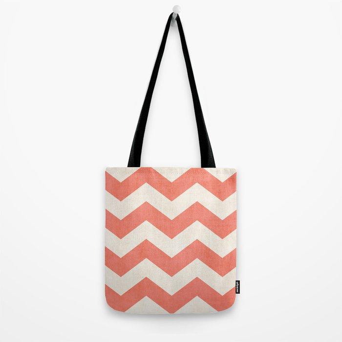 Vintage Coral Chevron Tote Bag