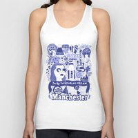 manchester Tank Tops featuring Manchester by leeann walker illustration