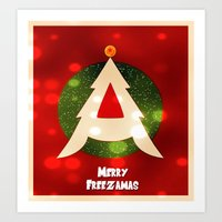 dragonball z Art Prints featuring Dragonball Z Christmas by Weasley-Detectives
