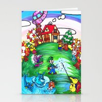 animal crossing Stationery Cards featuring Animal crossing invasioni  by Cristina Lunat Sugamele