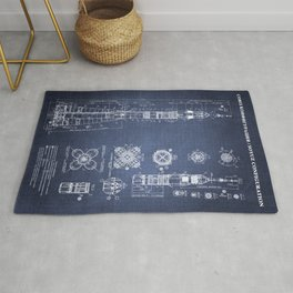 Soyuz Blueprint in High Resolution (dark blue) Rug