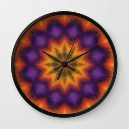 Purple and Yellow Kaleidoscope Wall Clock