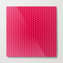 White dots on bright pink background Metal Print
