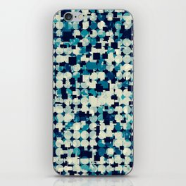geometric square and circle pattern abstract in blue green iPhone Skin