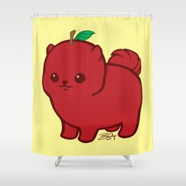 Apple Red Pom de Terrier Shower Curtain
