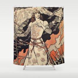 Sarah Bernhardt as Joan of Arc vintage theatre ad Shower Curtain