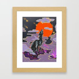 Wolf Crying at the Falling Stars Framed Art Print