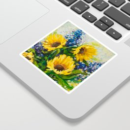Sunflowers Oil Painting Sticker