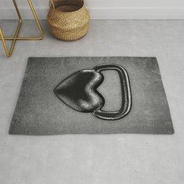Kettlebell heart / 3D render of heavy heart shaped kettlebell Rug
