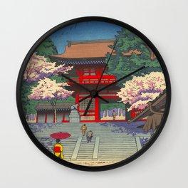 Asano Takeji Spring At Kurama Temple Vintage Japanese Woodblock Print Asian Art Wall Clock