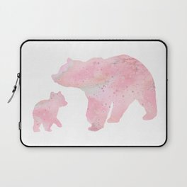 Mother Bear and Cub Art Colorful Pink Watercolor Art Gift Animals Art Kids Gift Mothers Art Laptop Sleeve