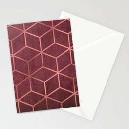 Pink and Rose Gold - Geometric Textured Gradient Cube Design Stationery Cards