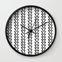 Linocut abstract minimal chevron pattern basic black and white decor Wall Clock