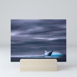 Whale in ocean night Mini Art Print