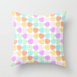 Pastel Candy Sweet Hearts Throw Pillow