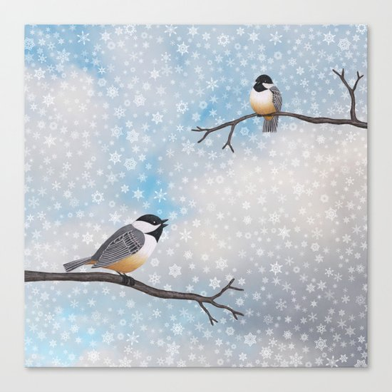 chickadees in snow Canvas Print
