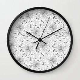 FLOWERS, PETALS AND HEARTS - GRAY Wall Clock