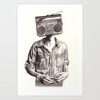 radio Art Prints featuring Radio-Head by KatePowellArt
