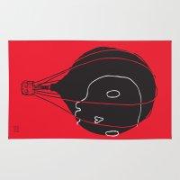 hot air balloon Area & Throw Rugs featuring Hot Air Balloon Skull by Fupete Art