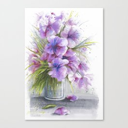 Glass Vase with Wild Flowers Canvas Print