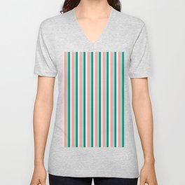 Soft Pink , Peach Amber, Yucca and Arbor Green Pinstripes Unisex V-Neck