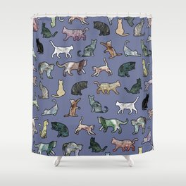 Cats shaped Marble - Violet Blue Shower Curtain