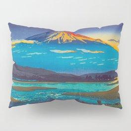 Tsuchiya Koitsu Tokaido Fujikawa Japanese Woodblock Print Sunset Colorful Hues Mountain Landscape Pillow Sham