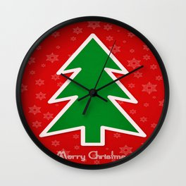 Merry Christmas Tree With Snowflake Background  Wall Clock