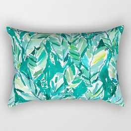 BANANA LEAF JUNGLE Green Tropical Rectangular Pillow