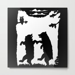 Two Dancing Bears Trees Owl Black Silhouette on White Metal Print