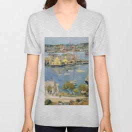 Classical Masterpiece 'Gloucester Harbor Landscape' by Frederick Childe Hassam Unisex V-Neck