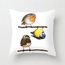 Three Little Birbs - Brown Throw Pillow