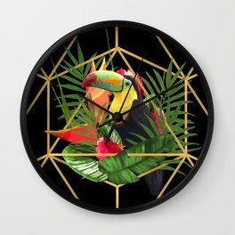 Bold Golden Geometric Tropical Bouquet With Toucan Wall Clock
