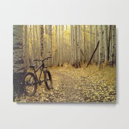 Golden Aspen Mountain Biking Metal Print