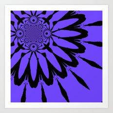 The Modern Flower Periwinkle & Black Art Print