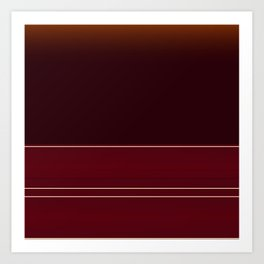 Rich Burgundy Ombre with Gold Stripes Art Print