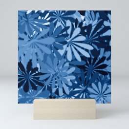 In The Tropics SKY BLUE - navy blue - and mid blue in a graphic display of color Mini Art Print