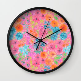 Floral watercolor pattern in pink Wall Clock