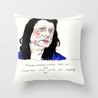notorious Throw Pillows featuring Notorious W.I.S.E.A.U by withapencilinhand