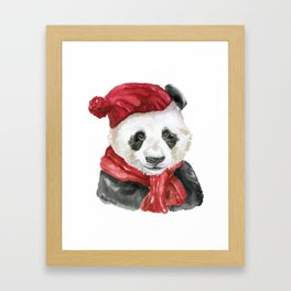Panda Bear with Hat and Scarf Watercolor Framed Art Print